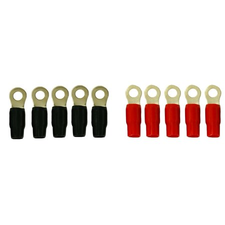 DNF 10 Pack Copper 24K Gold Plated 1/0 Gauge Wire Cable Ring Terminals Connectors Red Boots (5 Pack) Black Boots (5 Pack) 3/8