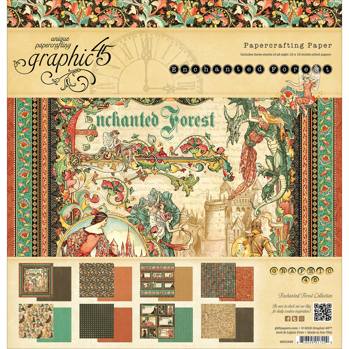 """Graphic 45 Double-Sided Paper Pad, 12"""" x 12"""", 24pk, Enchanged Forest, 8 Designs, 3 Each"""