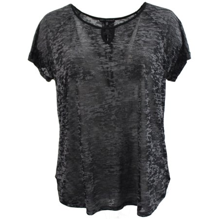 BNY Women Plus Size Short Sleeve Burnout T-Shirt Knit Top Tee Blouse Black 1XL 17039 BNY Corner