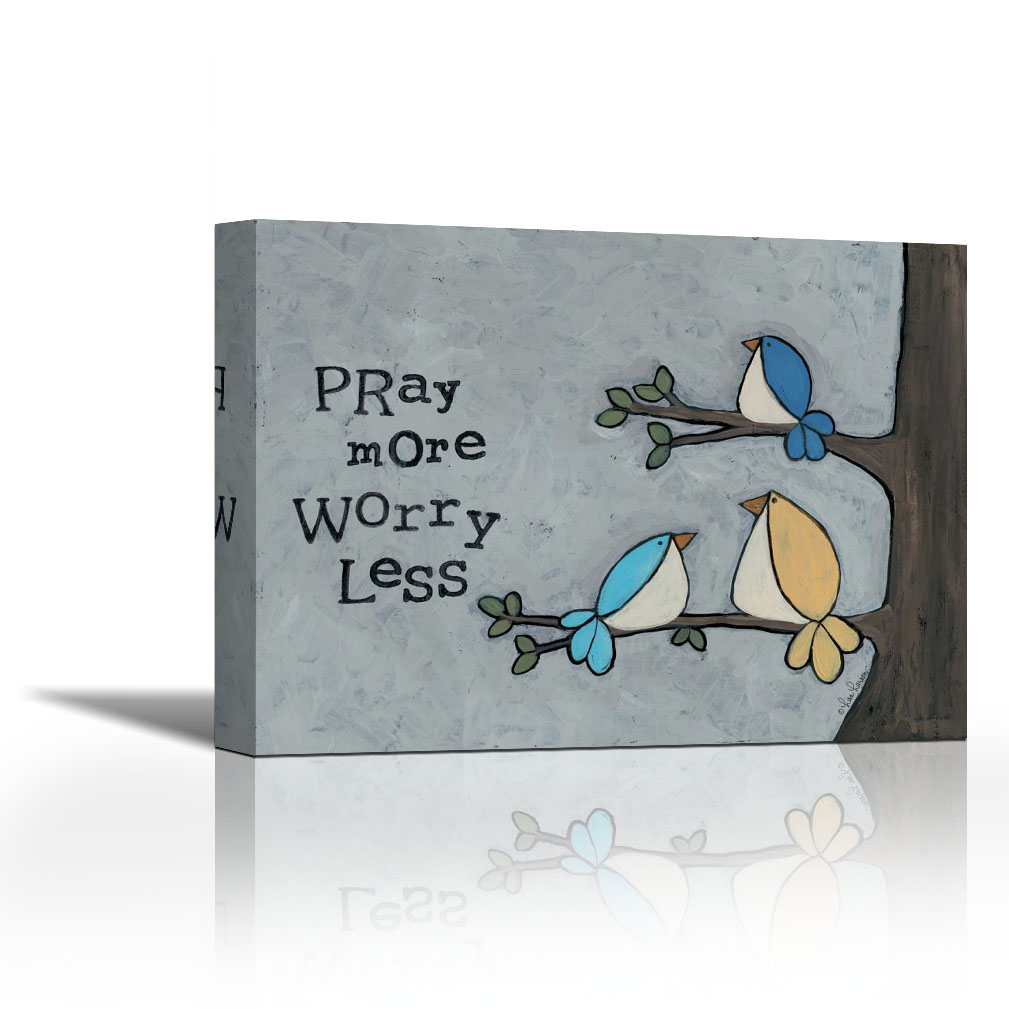 Pray More - Contemporary Fine Art Giclee on Canvas Gallery Wrap - wall décor - Art painting - 24 x 18 Inch - Ready to Hang