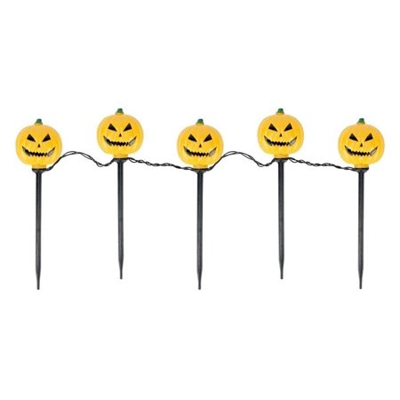 Set of 5 Lighted Scary Jack-o-Lantern Halloween Pathway Markers - Clear Lights