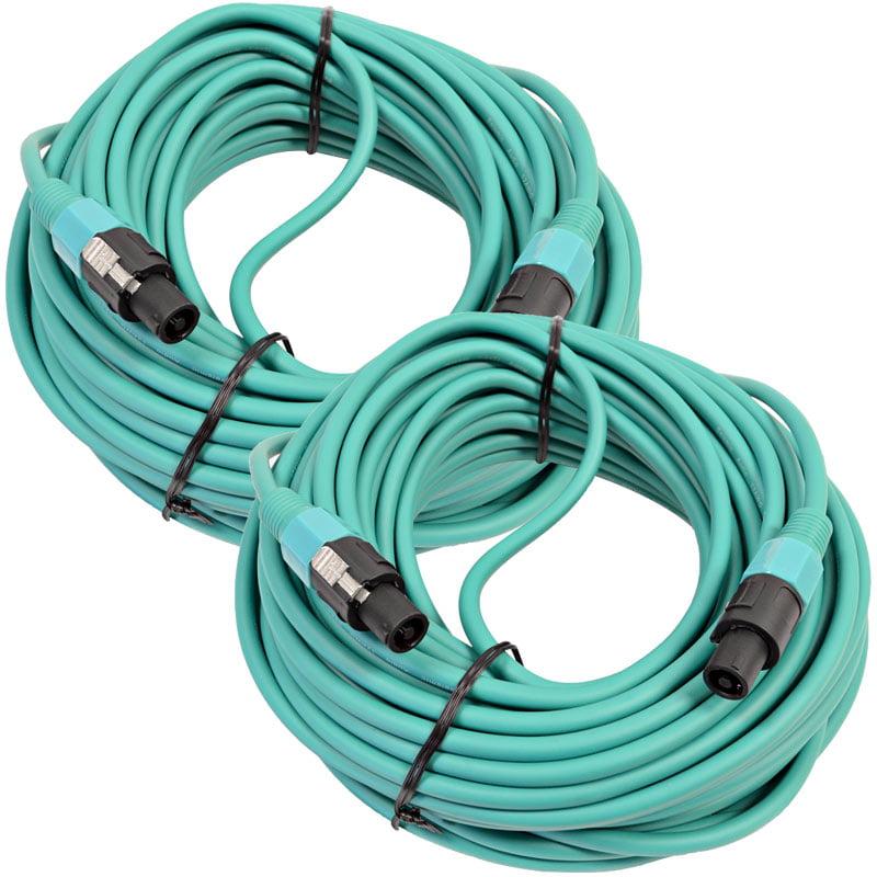 Seismic Audio  Pair of 12 Gauge 100 Foot Green Speakon to Speakon Speaker Cables Green - TW12S100Green-Pair