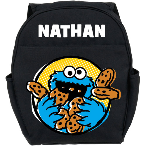 Personalized Sesame Street Cookie Monster Black Toddler Backpack