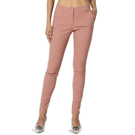 TheMogan Women's Versatile Stretch Woven Slant Pocket Crop Trousers Skinny Pants Black Stretch Cropped Pants