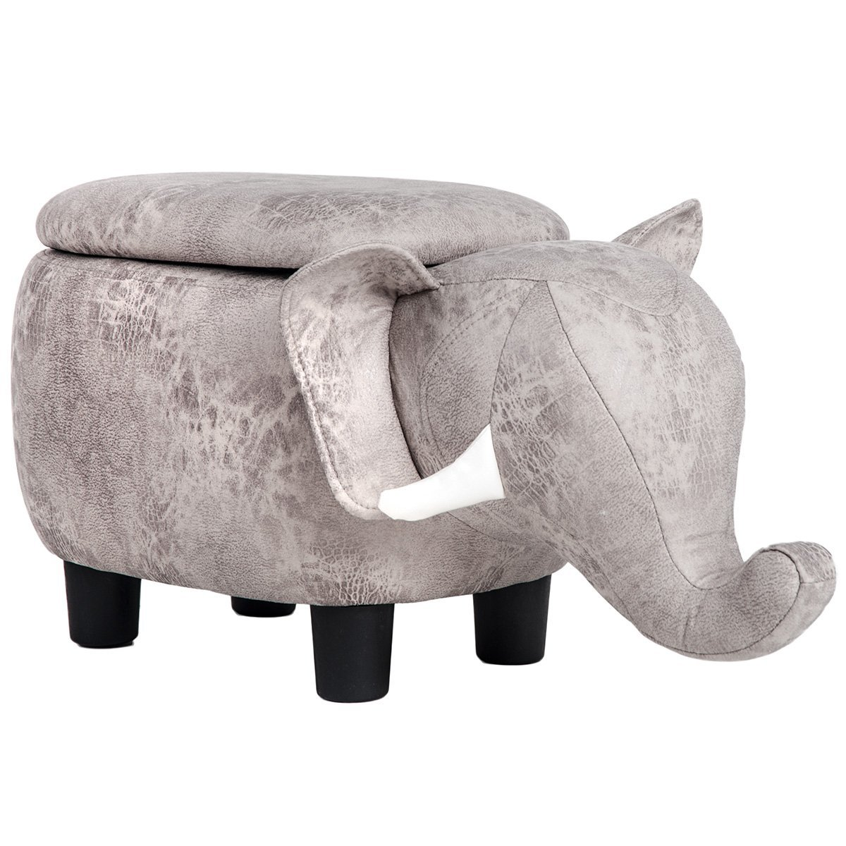 Merax Have-Fun Series Upholstered Ride-on Storage Ottoman Footrest Stool with Vivid Adorable Animal-Like Features (Gray Elephant)