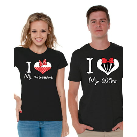 Awkward Styles Matching Husband Wife Shirts Couples Shirts I Love My Husband I Love My Wife T-shirts for Couple Best Husband Best Wife Matching Couple Shirts Valentines Day Anniversary Gift for