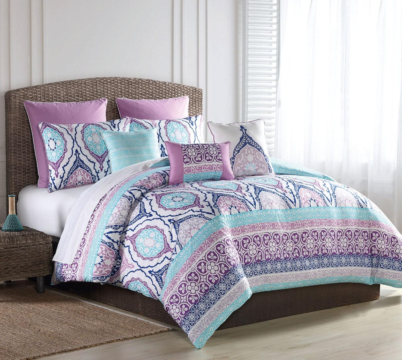 8 Piece Raquel Turquoise/Purple Comforter Set King - Walmart.com