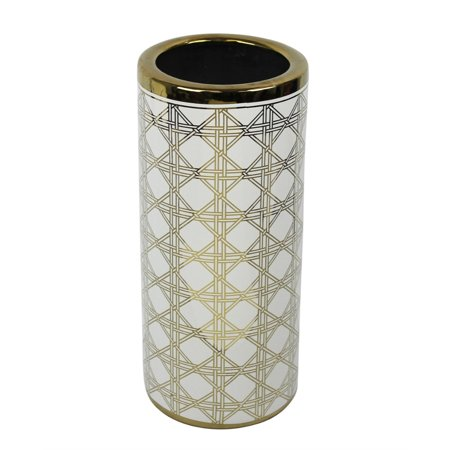 Splendid Patterned Ceramic Umbrella Stand White And Gold Walmart