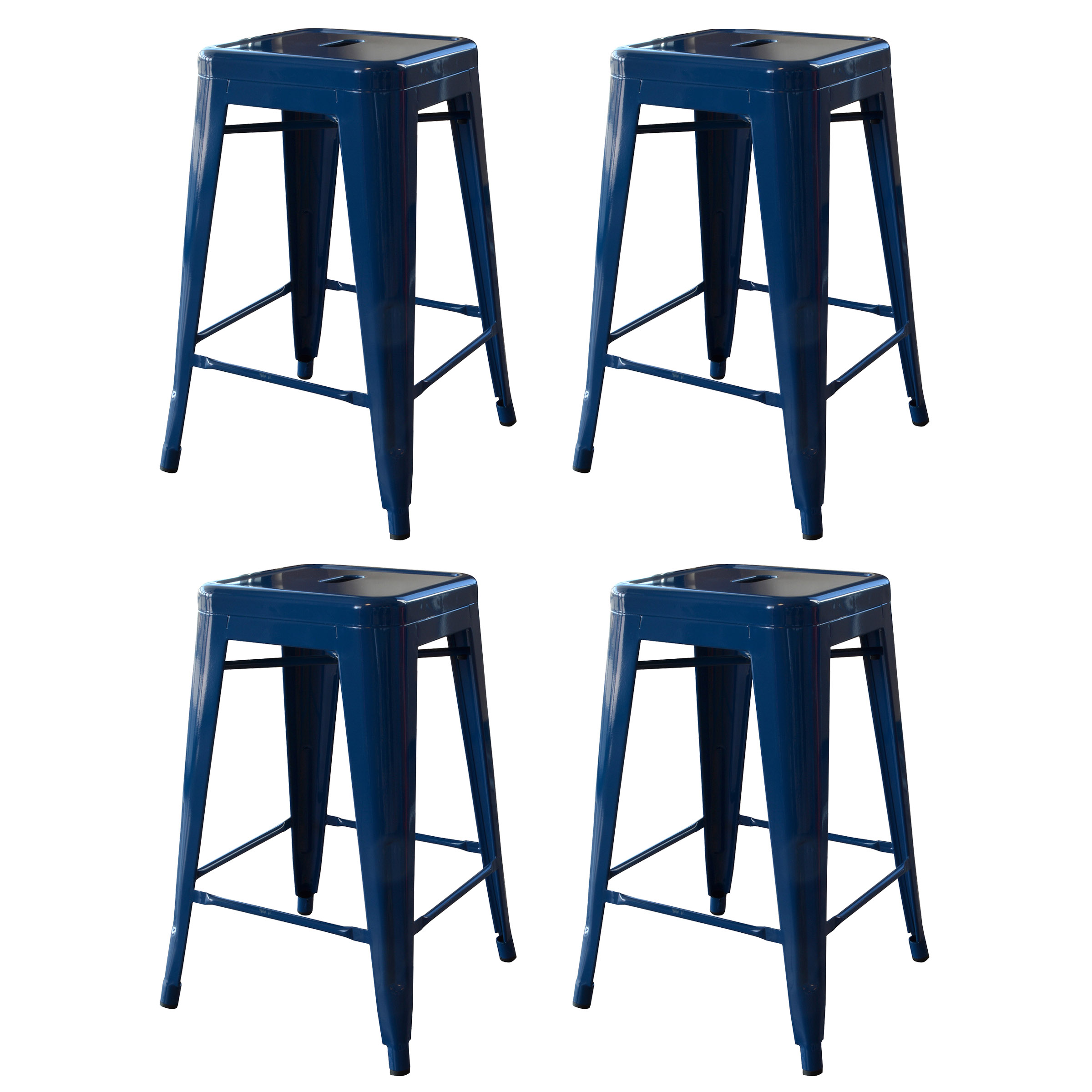 Amerihome Loft 24 Metal Bar Stool Blue Set Of 4 Walmartcom