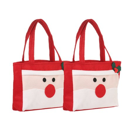 2pcs/set Santa Claus Style Christmas Candy Bags with Handles Non-woven Gift Wrap Bag X'mas Decoration Ornaments ()