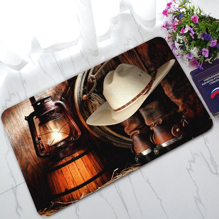 GCKG American West Rodeo Cowboy Non-Slip Doormat Indoor/Outdoor/Bathroom Doormat 30 x 18 Inches