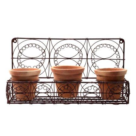 Metal 3 Terra Cotta Pots Wall Planter Rustic Farmhouse Garden/Patio/Yard Decor](Small Terra Cotta Pots)