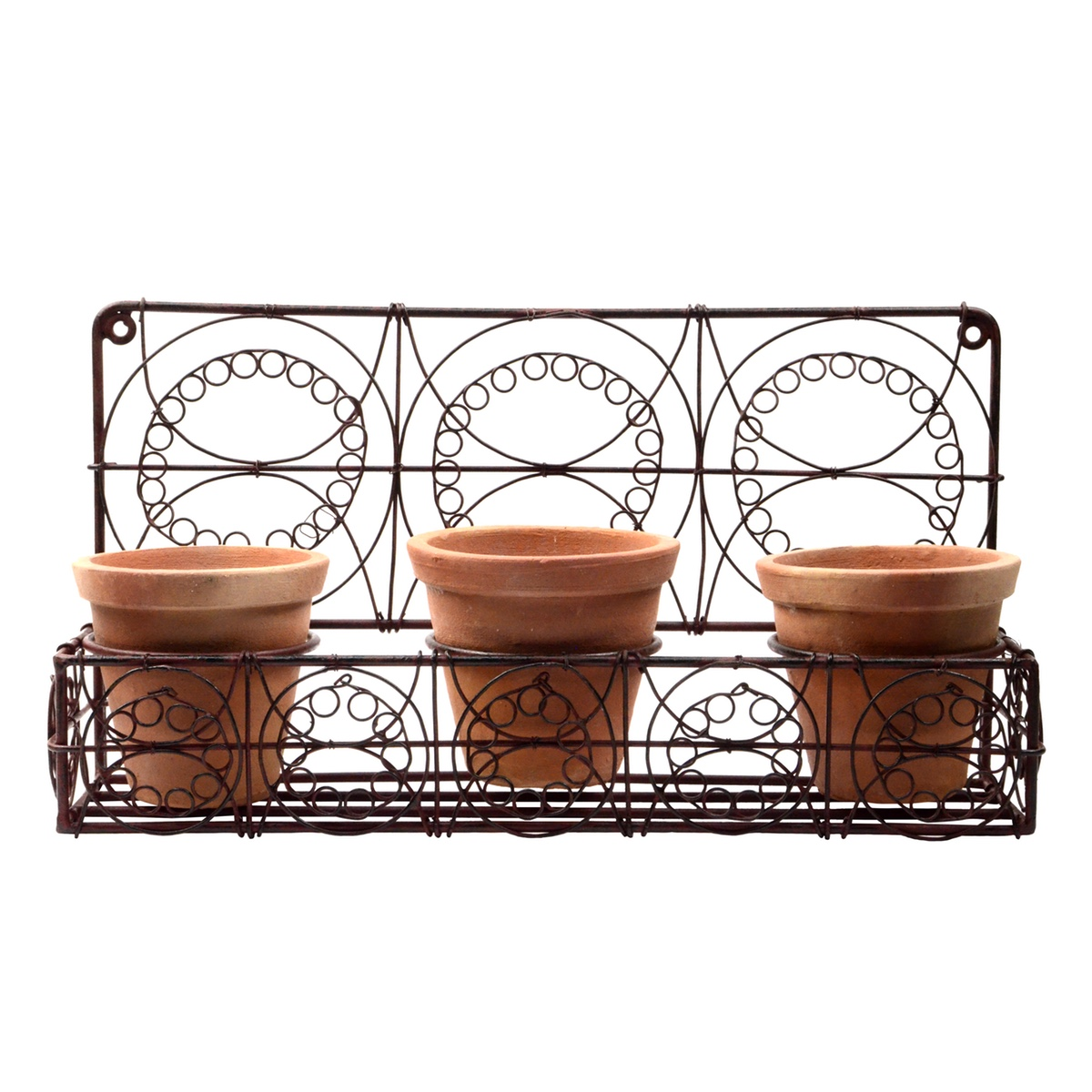 Metal 3 Terra Cotta Pots Wall Planter Rustic Farmhouse Garden/Patio/Yard Decor