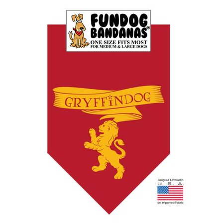 Fun Dog Bandana - HP Gryffindog - One Size Fits Most for Med to Lg Dogs, burgundy pet - Halloween Scarf For Dogs