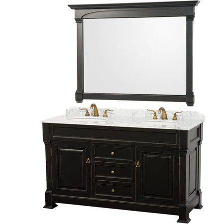 Wyndham Collection Andover 60 inch Double Bathroom Vanity in Black, White Carrera Marble Countertop, Undermount Oval Sinks, and 56 inch Mirror
