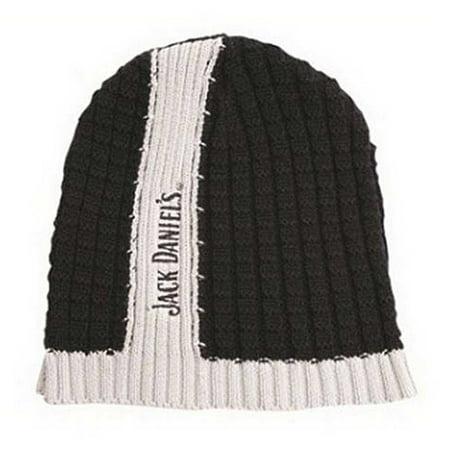 Jack Daniels Men's Center Stripe Skull Winter Beanie Hat OSFM (Skull Center)