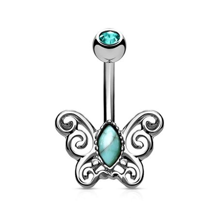 MoBody 14G Turquoise Centered Filigree Butterfly Belly Button Ring Surgical Steel Navel Body Piercing Jewelry (Silver-Tone) Butterfly Silver Belly Button Ring