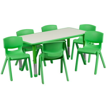 Flash Furniture 23.625''W x 47.25''L Adjustable Rectangular Plastic Activity Table Set in Multiple Colors with 6 School Stack Chairs,