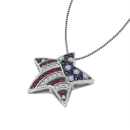 """Gemour Platinum Plated Sterling Silver Swarovski Zirconia 4th of July Patriotic USA American Flag Star Pendant Necklace (1/2cttw), 18"""""""