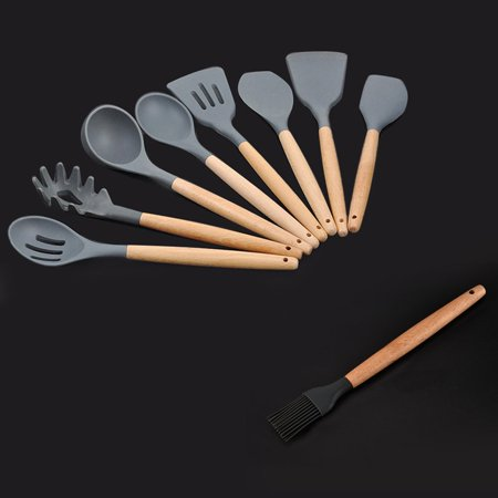 Silicone Wooden Handle Kitchen tool Non-stick Spatula Tool Set Cooking Utensils Kitchen tool - image 4 de 6