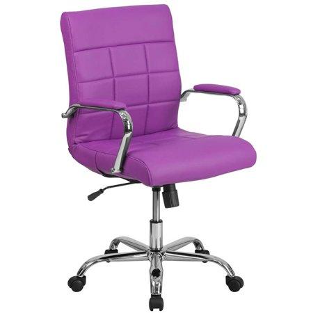 Scranton & Co Mid Back Faux Leather Swivel Office Chair in Purple