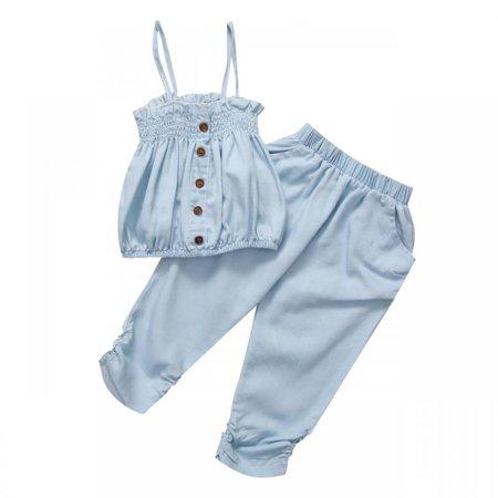 Kid Girls Child Jean Top T-shirt +Pants Shorts Outfit Baby Clothing Bodysuit - Denim Shirt Kids