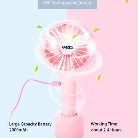 Portable Handheld Fan USB Charge 3 Wind Speeds Fan with Detachable Base for Outdoor Travel Home Office, Blue Pink White Optional - image 4 de 6