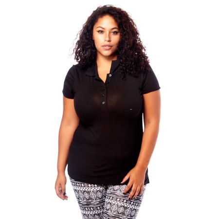 Womens Ladies Plus Sizes Curvy Classic Charming Design Polo Tops