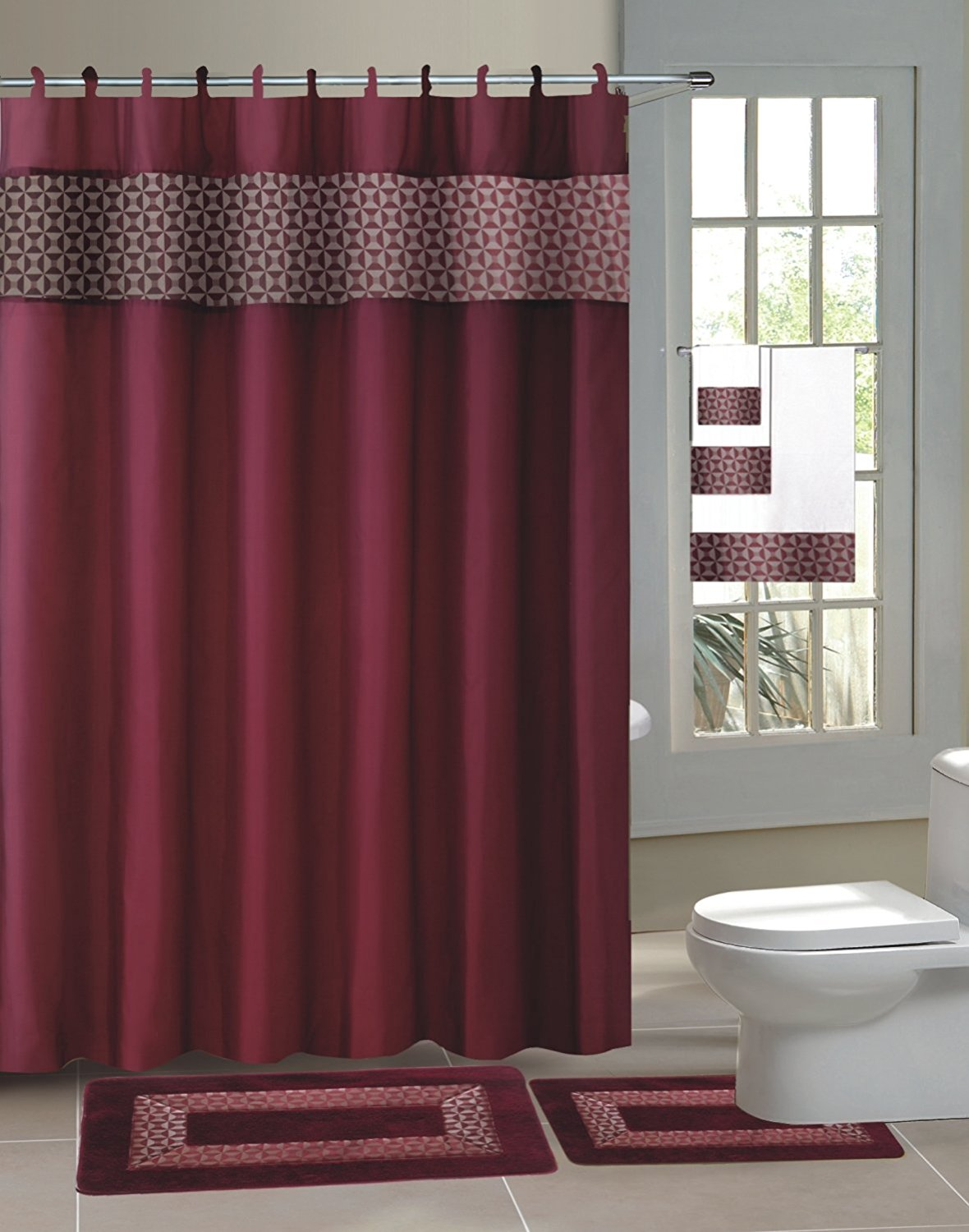 15pc BURGUNDY FRESCO Bathroom Set Printed Banded Rubber Backing Rug Bath  Mats With Fabric Shower Curtain