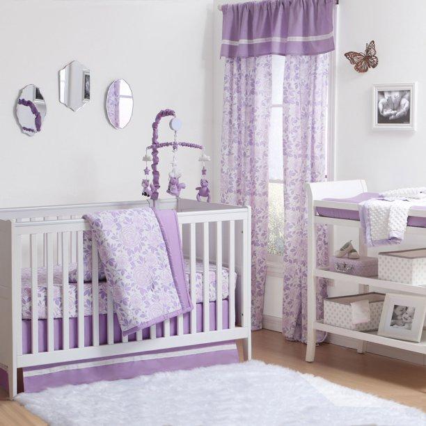 The Peanut Shell 3 Piece Baby Crib Bedding Set Purple Rose