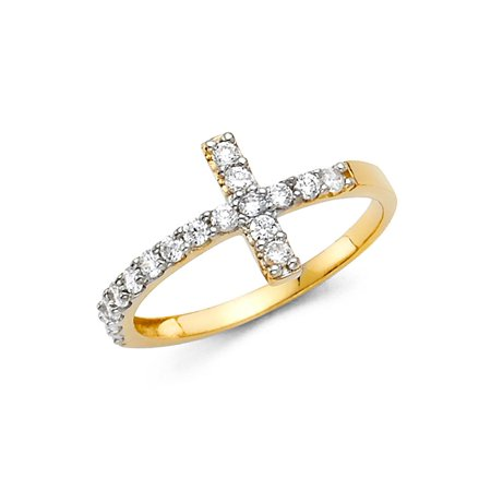Cross Solid 14k Gold Ring - 14K Solid Gold Large Cross Cubic Zirconia Fancy Ring, Size 4