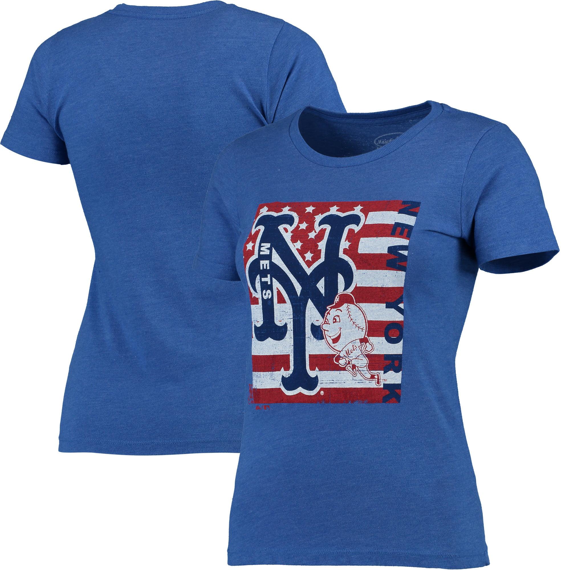 New York Mets Majestic Threads Women's Stars & Stripes Flag T-Shirt - Royal