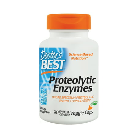 Doctor's Best Proteolytic Enzymes, Gluten Free, Vegetarian, 90 Veggie Caps Broad Spectrum Enzyme 90 Caps