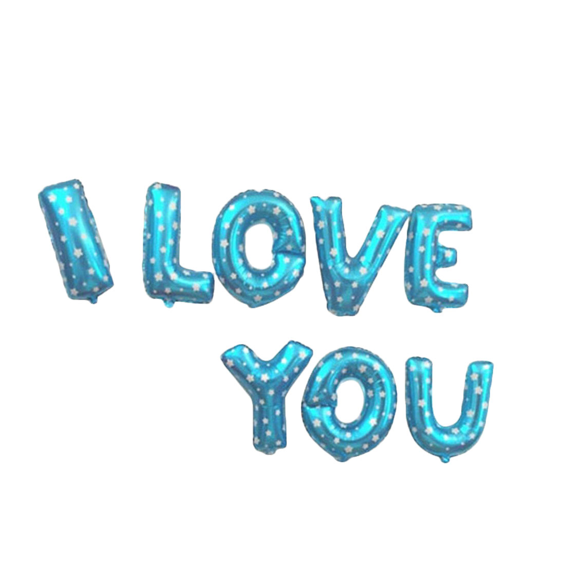 Unique Bargains Foil I LOVE YOU Shape Star Pattern Balloon Wedding Decor Blue 8 in 1