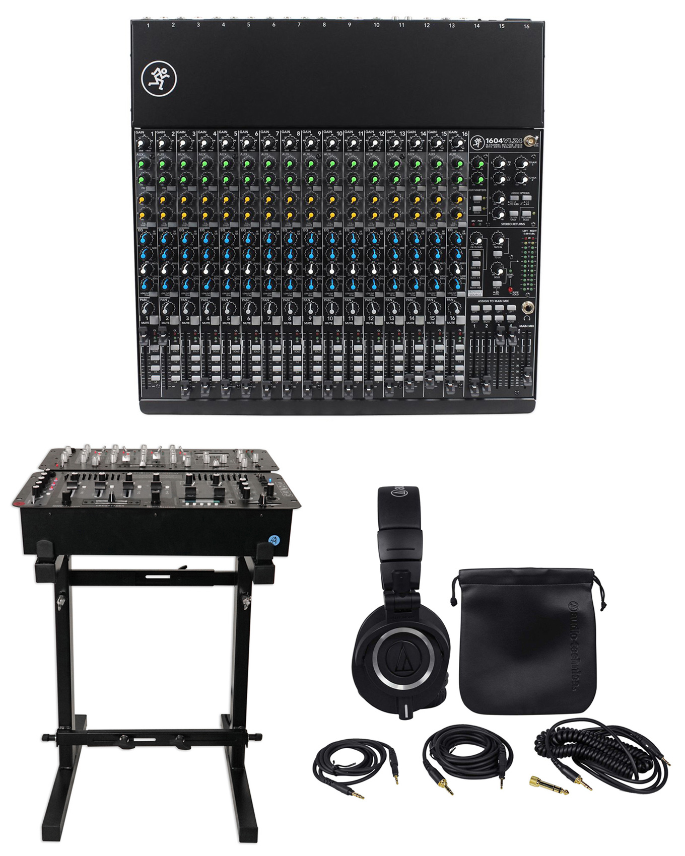Mackie 1604VLZ4 16-Ch Compact Analog Mixer w  16 ONYX Preamps+Stand+Headphones by Mackie