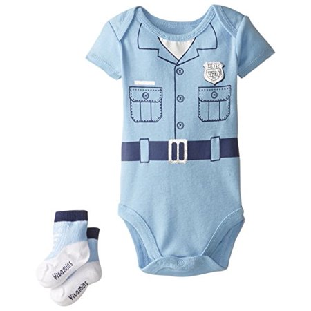 Vitamins Baby Baby-Boys Newborn Policeman Bodysuit with Socks, Blue, 3 (Best Vitamins For Newborn Baby)
