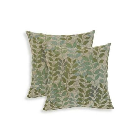 Essentials 19-63222LRK Fabian Chenille Leaf Toss Pillow, Lark - Set of 2