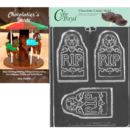 Cybrtrayd Rip Tombstone Bar Halloween Chocolate Candy Mold with Our Chocolatier's Guide Instructions Manual