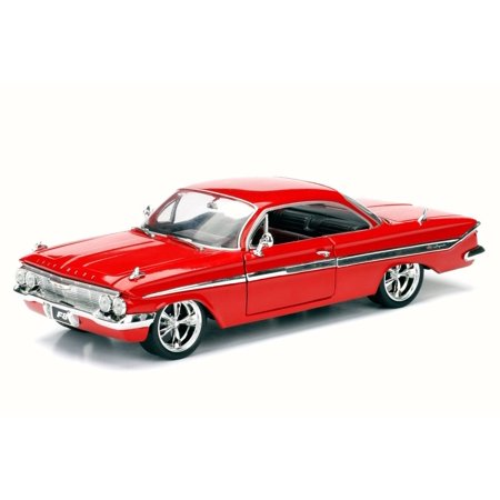 1961 Dom's Chevy Impala F8 Fate of Furious, Red - Jada 98430 - 1/24 Scale Diecast Model Toy Car (Brand New but NO