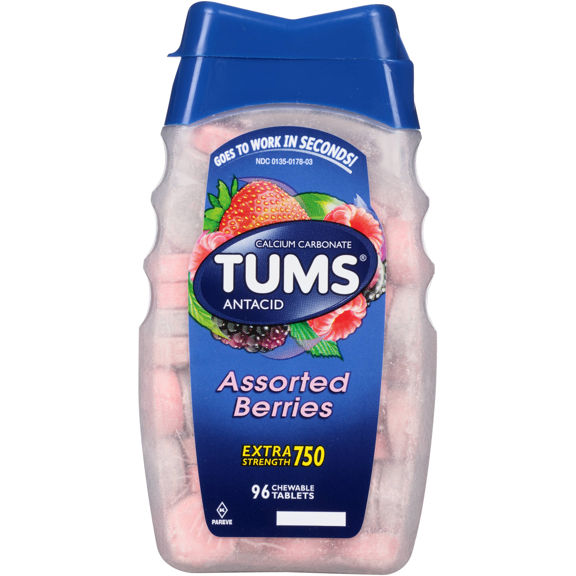 TUMS Extra Strength 750 Antacid Relief Calcium Chewable Tablets, Assorted Berries Flavor, 750mg, 96 Tablets