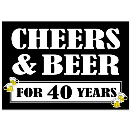 Cheers and Beers to 40 Years Cake Table or Photo Party Backdrop - Cake Table