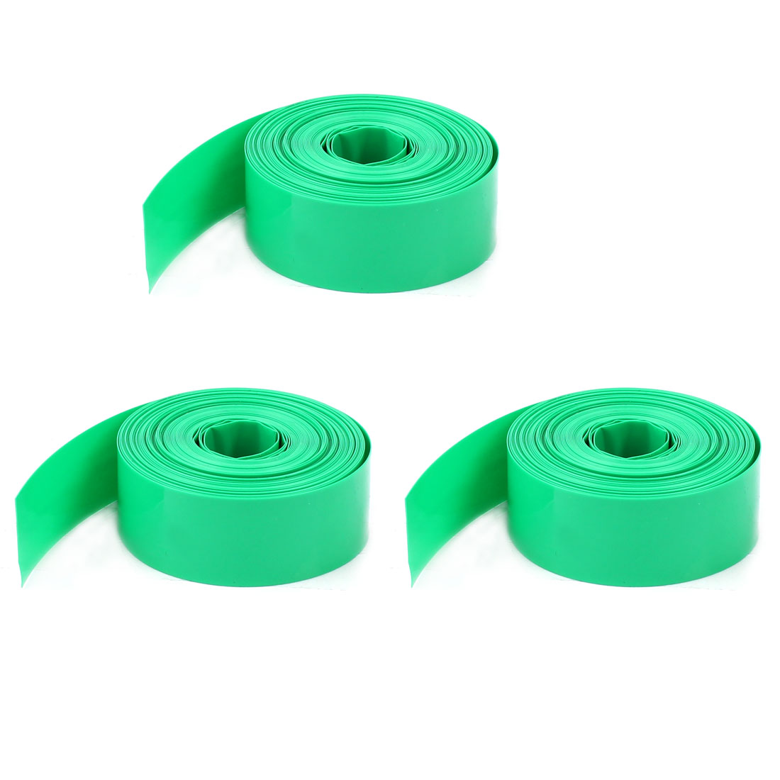 Unique Bargains 5Pcs 2 Meters 17mm Width PVC Heat Shrink Wrap Tube Green for 1 x AAA Battery