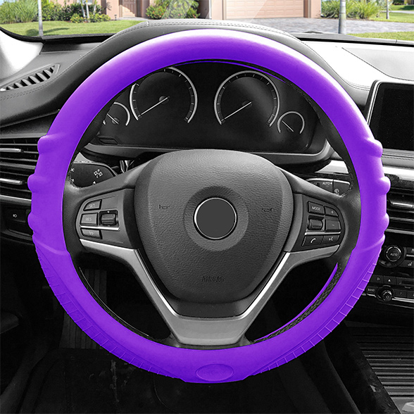 FH Group Universal Fit Purple Silicone Steering Wheel Cover with Grip Marks