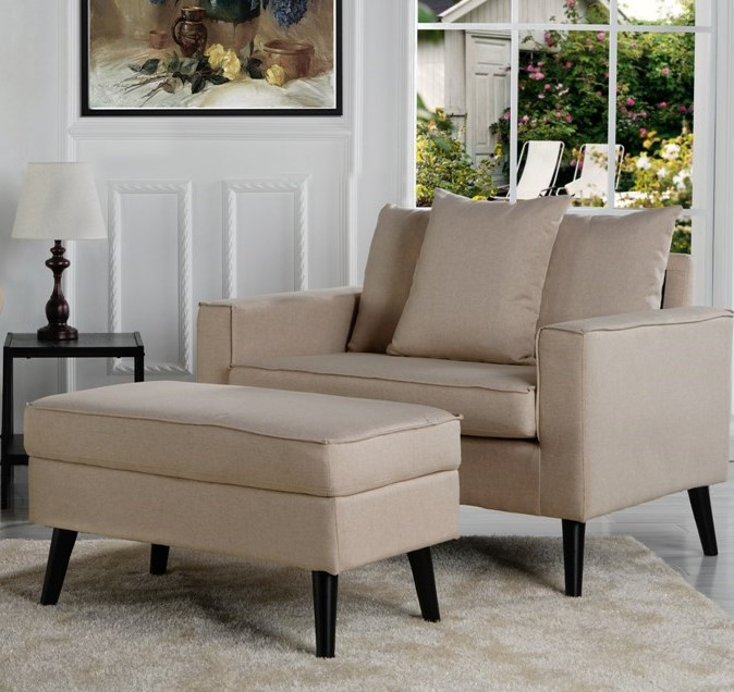 Modern Mid-Century Living Room Large Accent Chair with Footrest / Storage  Ottoman, Beige