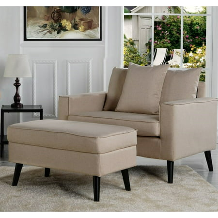 Modern Mid-Century Living Room Large Accent Chair with Footrest / Storage Ottoman, Beige ()