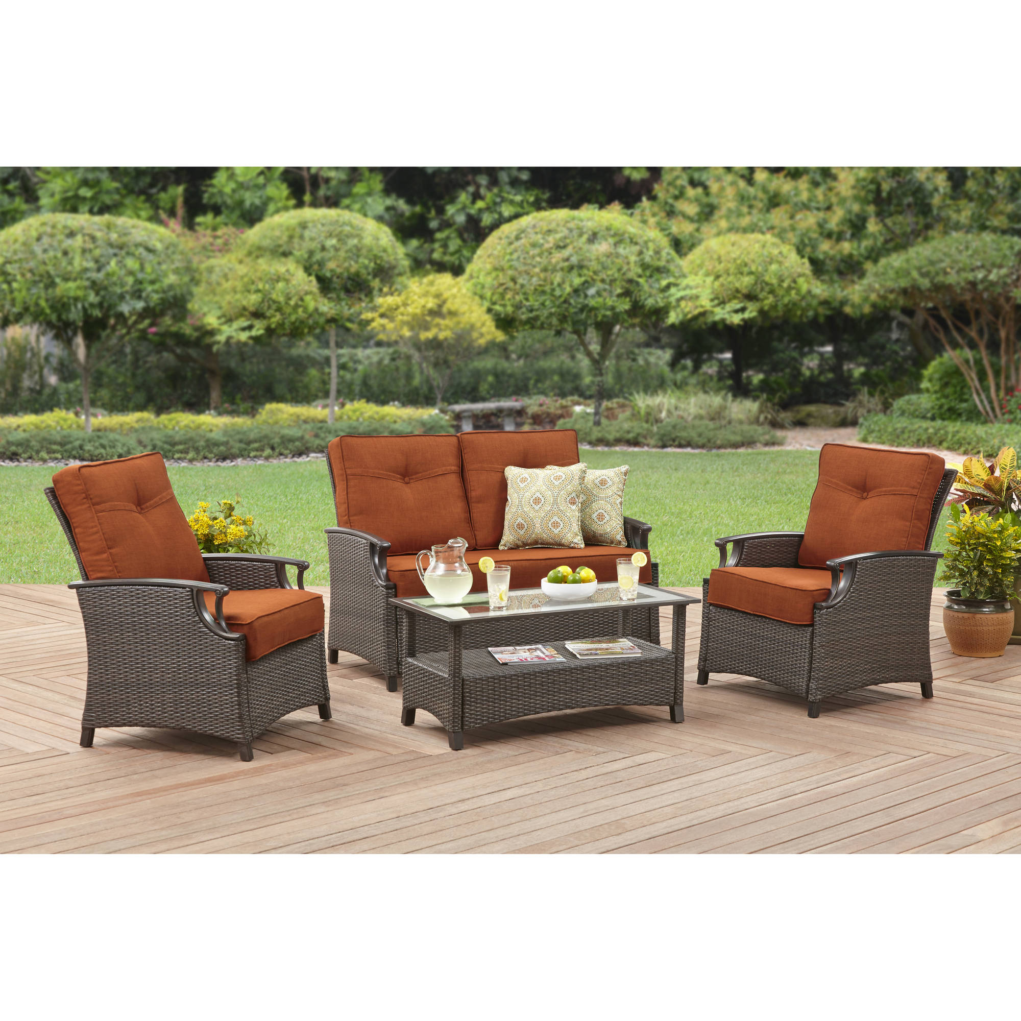 Better homes and gardens oak terrace 4 piece outdoor furniture set tradepongo