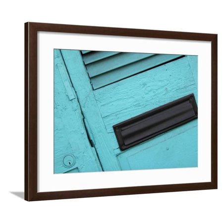 Close-up of Faded Blue Doors with a Black Mail Slot Framed Print Wall Art