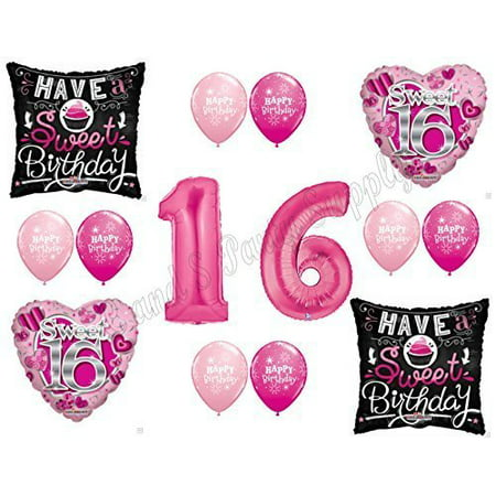 SWEET 16 Sixteen Birthday Balloons Decoration Supplies Party Cupcake Girl NEW!