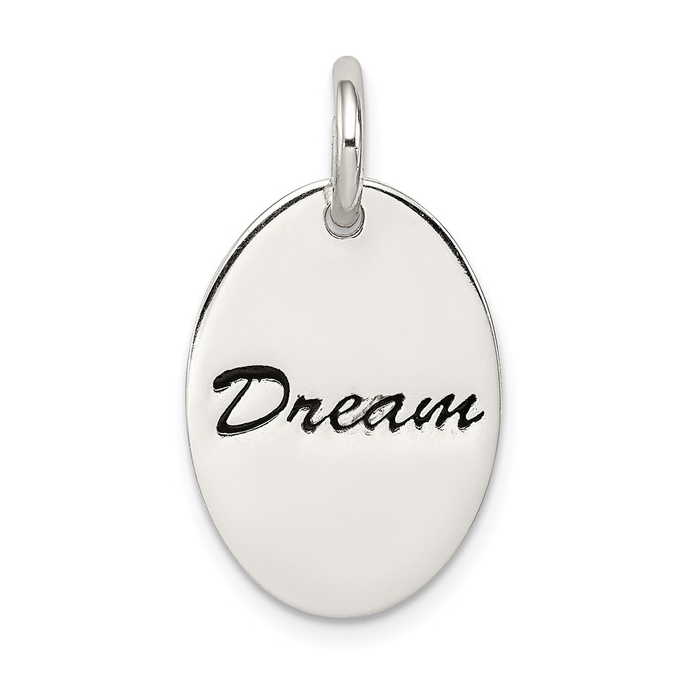 Sterling Silver Engravable Polished Enameled Oval Dream Pendant