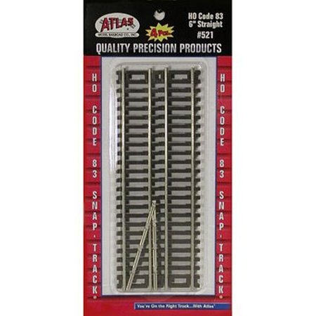 "HO Code 83 6"" Straight (4), Sectional Track - Code 83 By Atlas Model Railroad"